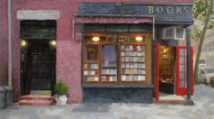 Paul Schulenburg, Bookstore, oil on canvas, 18 x 24