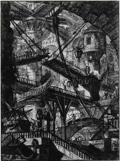 Giovanni Battista Piranesi.  Carceri. Plate VII. The Drawbridge. Carceri d'Invenzione. c. 1745.
