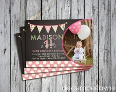 Cute Girl Birthday Invitation, Girl First Birthday Invitation, Photo Birthday Invitation, Bunting Banner Birthday on Etsy, $15.00