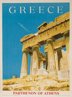 Vintage Posters - Greece, Parthenon of Athens Original Travel Poster