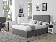 "Colorado (4' x 6'3"" Small Double) Gas Lift Designer Bed In Linen Grey: Amazon.co.uk: Kitchen & Home"