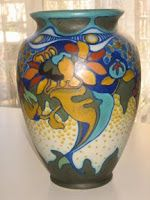"You ""Gouda"" be kidding!  She collects this, too?  What rich glazes and nouveau arte designs in this Gouda Holland pottery!"
