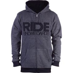 Ride Heathered Full Zip Hoodie, Black, X-Large by Ride Snowboards. $44.62. Casual comfort is what you will find in the Ride men's Heathered full zip hoodie...so comfortable you might find yourself never taking it off.