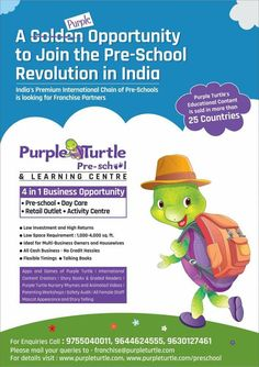A Purple Opportunity to join the Preschool Revolution in India. Become a Master Franchise for your city.  Meet us at New Delhi World Book Fair 2018 at Pragati Maidan from 6th to 14th January 2018. #NDWBF - Booth No. - 192 to 194 near lake side hanger, Gate No. 1 (Metro Gate). #PurpleTurtle #FranchiseIndia