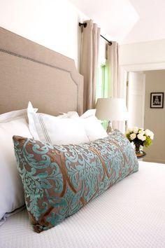 Marianne Strong Interiors, Linen headboard, velvet bolster, neutral bedroom