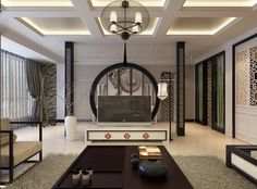 Oriental Stencil Feature Wall Monochrome Living China