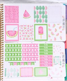 Watercolor Watermelon Planner Stickers, for use with Erin Condren, Planner Stickers, Sticker Kit, Life Planner by PixiePrintsCo on Etsy https://www.etsy.com/listing/250984475/watercolor-watermelon-planner-stickers