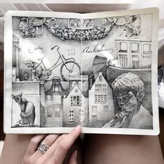 Architecture and a Child. Intricate Moleskine Drawings with Cats. Click the image to see more of Elena Limkina's work. Artist Sketchbook, Sketchbook Pages, Fashion Sketchbook, Art Prints For Home, Ink Illustrations, Watercolor Illustration, Watercolor Sketch, Disney Drawings, Moleskine