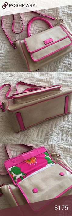 """Kate Spade HorseShoe Cove McKenna Crossbody bag Brand new with tags and stuffing inside (unattached) but marked new with tags. Some of the neon pink transfered to the front, not super noticable and still an excellent bag! Strap can be detached to wear as top handle bag. Coated canvas/leather. Strap drop 5"""" & 22"""". Offers welcome through offer tab. No trades. 10225171181 kate spade Bags Totes"""