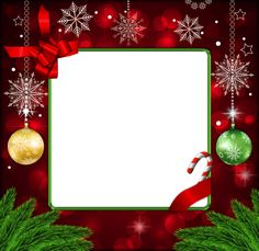 Beautiful Red Deco PNG Christmas Frame