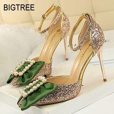 d26cfce086b BIGTREE Women Pumps Classic High Heels Women Shoes Pearl Butterfly-knot Women  Sandals 2019 New Women Wedding Shoes Party Shoes