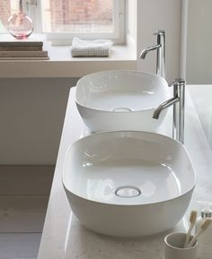 Designer bathroom brand Duravit is embracing the concept of 'less is more' with its new Scandinavian-inspired collection of washbasins, bathtubs, and bathroom furniture. Created by designer Cecilie Ma View our range at www. Countertop Basin, Countertops, Bathroom Design Small, Modern Bathroom, Bathroom Furniture, Bathroom Interior, Bathroom Trends 2017, Bathrooms Online, Shower Panels