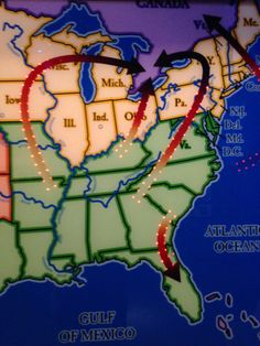 A visual of the routes slaves would take to get to free land. Note a lot of routes were to Canada, a free country.