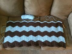 Baby boy crocheted cheveron blanket!