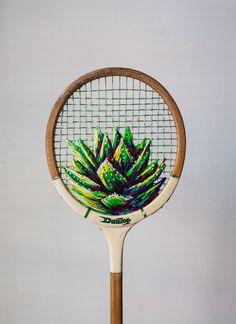 Raquette de badminton brodée / Embroidered badminton racket