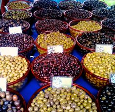 Greek Olives at the market in Athens. Cant't choose just one. www.olivetomato.com