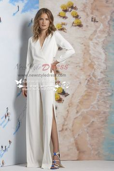 Modern Wedding jumpsuit slit  dresses with three quarter sleeves wps-019