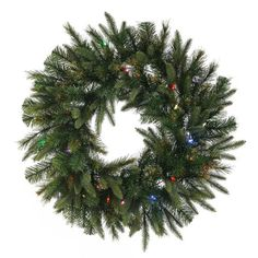 "30"""" Pre-Lit Battery Operated Mixed Pine Cashmere Christmas Wreath - Multi Lights"