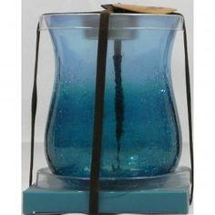 Tea Light Holder Crackle Glass Blue