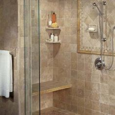 what size tiles to use in a small shower to make it look bigger | Here is a good example of using accent tile in the correct way. A ...