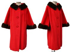 Womens Wool Mink Long Coat Swing Style with Scalloped Hems Fully Lined Mid Century YOUNG MISS of CALIFORNIA