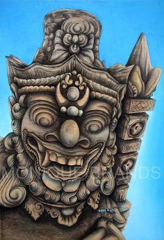 Original painting of a Balinese Demon - acrylic paint on a wooden panel op Etsy, 450,00 €