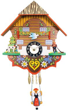 This charming battery-operated Black Forest Quartz Dog and Herder Cuckoo Clock is hand-painted in traditional Germanic style and accented in wildflowers. Black Forest Mountains, Chiming Wall Clocks, Coo Coo Clock, Iron Wall, Wood Colors, Battery Operated, Flower Wall, Blue Bird, Decorative Pillows