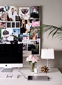 loving the idea of the collage of fashion pictures on the wall behind the desk