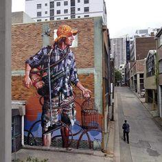"Fintan Magee ""Domestic Bliss"" in Sydney, Australia. - - - - - - - - - - - - - - - - - - - - - - - - - - - - - #streetart #mural #sydney #australia #graffiti #urbanart #welovestreetart #streetartfiles"