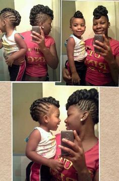 Wow! Mother and daughter cornrow Mohawk
