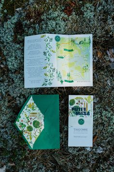 Nature/woodland wedding invitation with a map