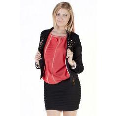 Black Studded Collar Detail Zipped Jacket