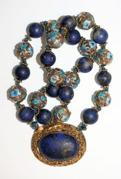 Art Deco Chinese gilded silver filigree, enamel & lapis pendant necklace