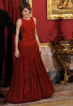 Princess Letizia of Spain attend an official dinner at the Palacio Real de Madrid on day one of a three day visit to Spain on March 30 2011 in Madrid...
