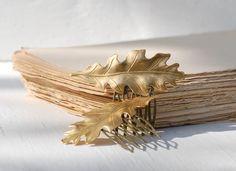 2 Golden LEAF pelo peines bosque naturaleza por redtruckdesigns, $40.75