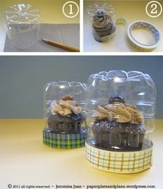 steps for making creative cupcake Dome  from water bottles