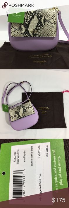 """kate spade NWT Cameron St snake byrdie lilac cream NWT kate spafe Cameron Street snake byrdie crossbody bag.  Comes with dustbad and care booklet.  Adjustable and Removable straps.  14k light gold plated hardware.  Gorgeous bag.  Approximate flat lay measurements: 7.5"""" across, 7"""" high, base 3"""".  No trades.  Thank you for looking! kate spade Bags Crossbody Bags"""