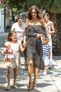 Alessandra Ambrosio is seen with her daughter Anja -August 2016