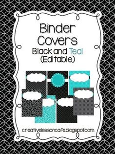 Binder Covers {Editable} Black and Teal