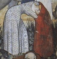 A woman undressing before entering the fountain of youth. From a fresco, circa 1411, in the great hall of the Castello di MantaMuckley 1386 Women's Clothing: Underwear