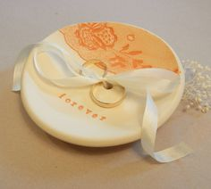 Ring Bearer Bowl, Wedding Ring Dish, Ring Plate, Clay, Vintage Lace, Silk Ribbon, Cream, Orange by TheKindestWord on Etsy