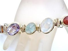 Sterling Silver Moonstone Topaz Bracelet Opal Citrine Amethyst Natural Gemstones | eBay