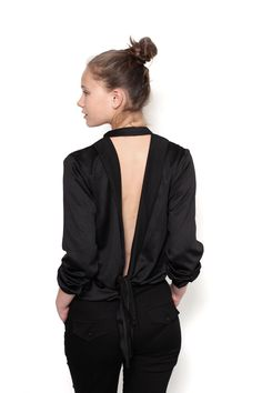 Open Back Blouse w/ Tie
