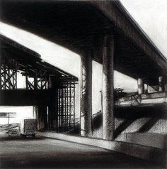 """Tony Peters """"Looming Overpass"""" 15 x 15 inches, charcoal drawing on paper. www.tonypetersart.com"""