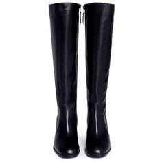 Stuart Weitzman 'Suburb' leather knee high boots (22380 TWD) ❤ liked on Polyvore featuring shoes, boots, stuart weitzman knee high boots, block heel shoes, stuart weitzman shoes, cuff boots and block heel knee high boots