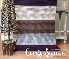Make this easy textured afghan by Little Monkeys Crochet with Vanna's Choice! The Comfy Squares Textured Blanket calls for 8 skeins of yarn (pictured in purple, linen, taupe, and grey marble) and a size K (6.5mm) crochet hook. Get the free pattern and don't miss her cute handmade gift tags!!