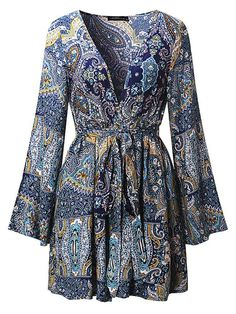 $14.52 Bohemian Women Long Sleeve Deep V-Neck Floral Printed Mini Dress