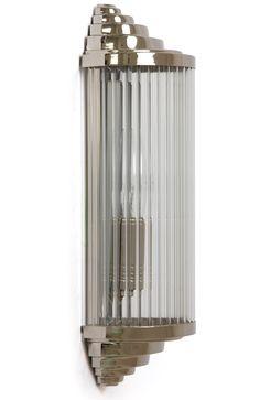 Art Déco Wall light 30 cm, Nickel * Kleine Art Déco-Kristallglas-Wandleuchte *