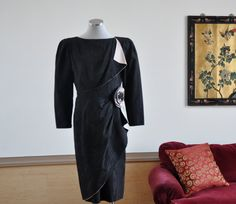 Vintage 80s Black and Pink Silk Cocktail by PelhamRoadVintage, $95.00