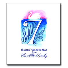 """Seventh Day of Christmas Tea Towel Approx. 20""""W x 30""""L. Up to 20 characters for personalization. 100% Cotton. Message: """"Seven Swans A-Swimming - Merry Christmas from ___________"""""""